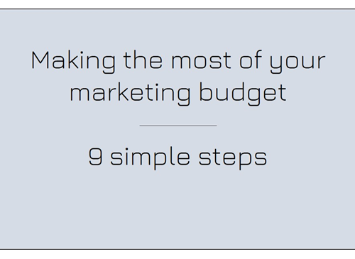 making the most of your marketing budget